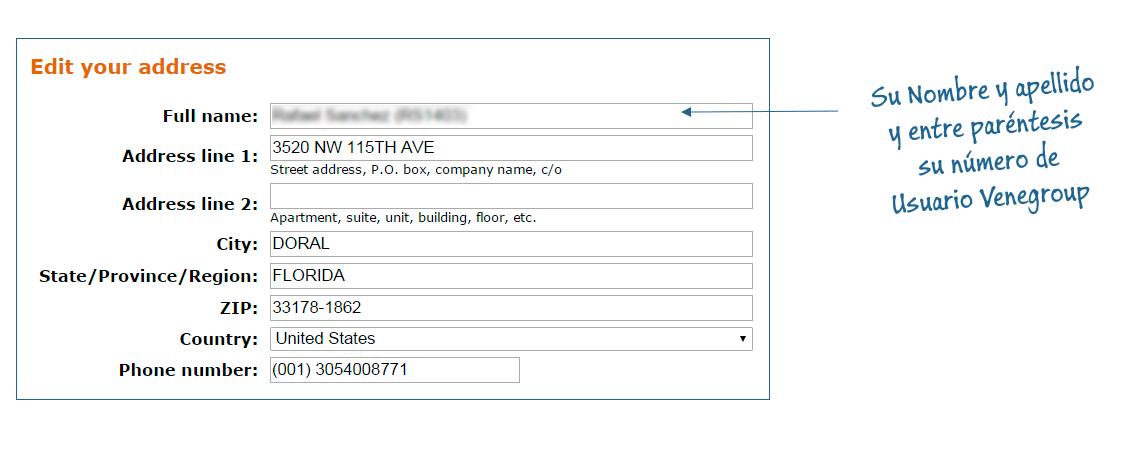 Shipping Address (Dirección de envio) - Venegroup Services